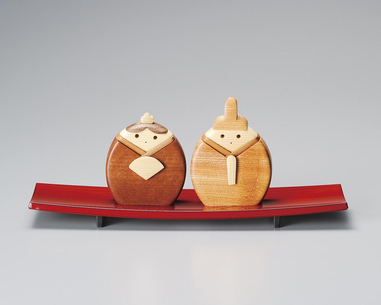 木製 ひな人形(敷板付) 1組