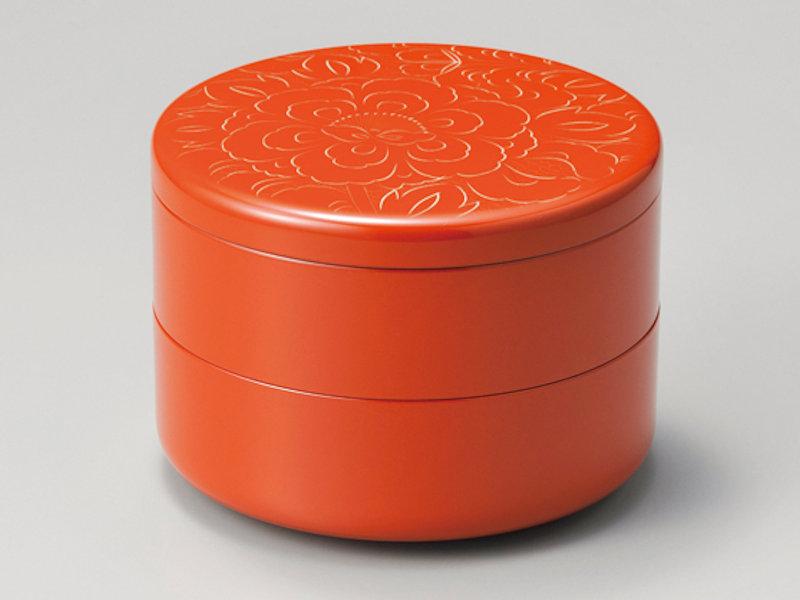 牡丹彫り 丸重箱 洗朱 1組