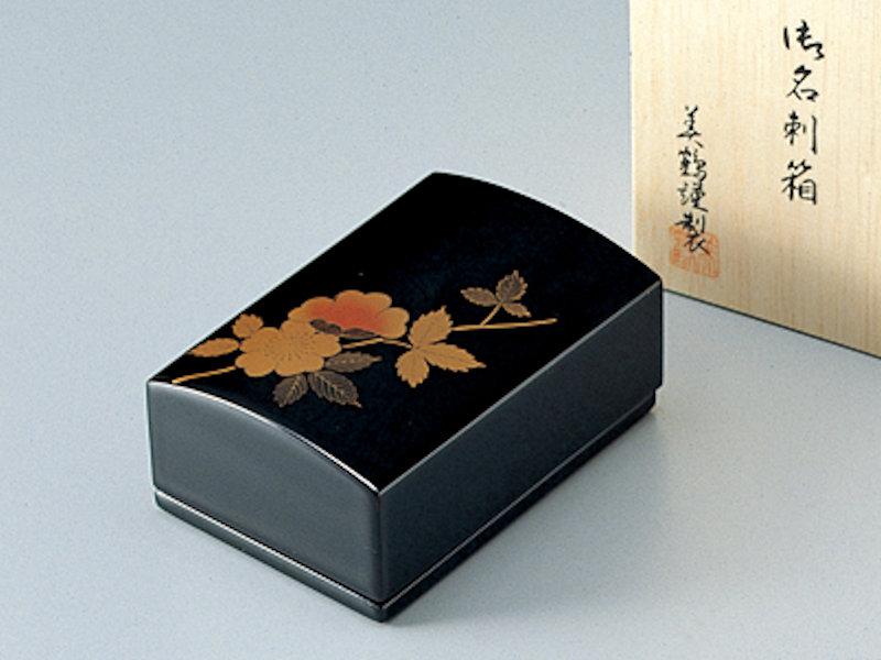 山茶花 名刺箱(小) 黒 1個