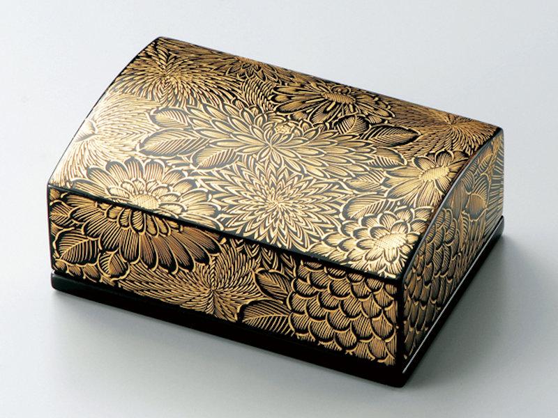 沈金菊彫 名刺箱(小) 黒 1個