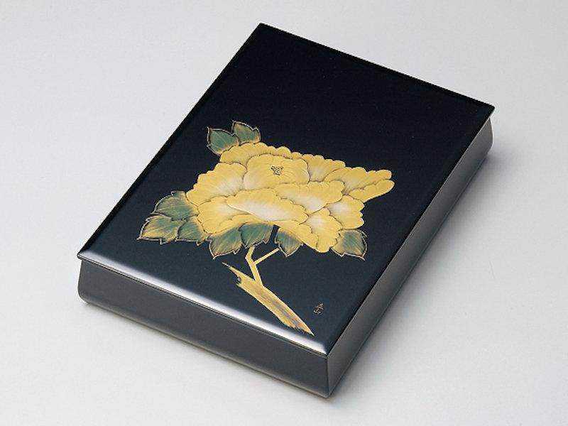 沈金牡丹 板蓋文庫(A4サイズ) 黒内梨地 1個