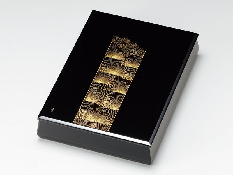 沈金帯松 板蓋文庫(A4サイズ) 黒内梨地 1個