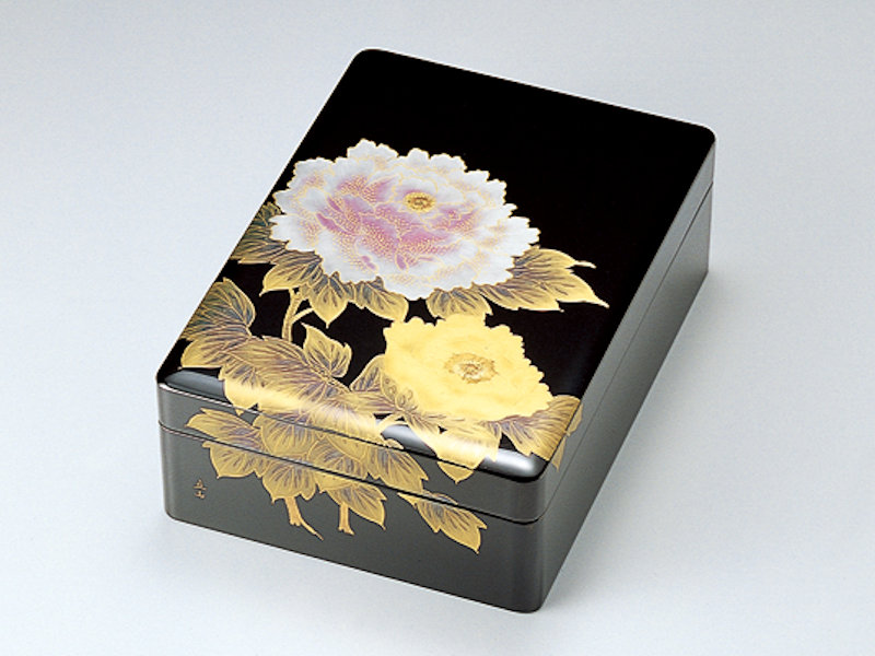 沈金富貴(牡丹) 合口文庫 黒 (1個)