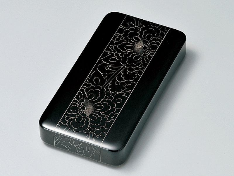 プラチナ牡丹彫 硯箱 黒 1個