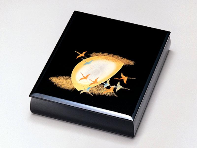 文庫(A4サイズ) プレゼント 1個:木製 デスク ギフト 御祝 記念品 日本製 書類入れ 黒 月に飛鶴