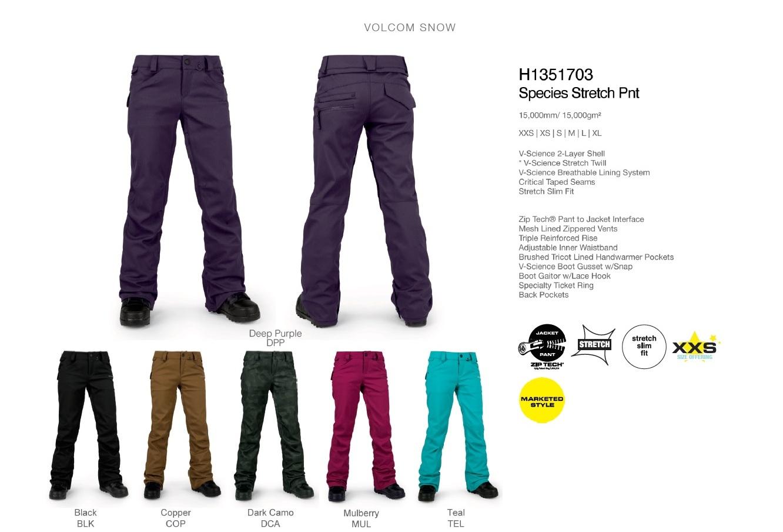 【16-17】VOLCOM ボルコム SPECIES STRETCH PNT パンツ スノーボードウェア レディース H1351703