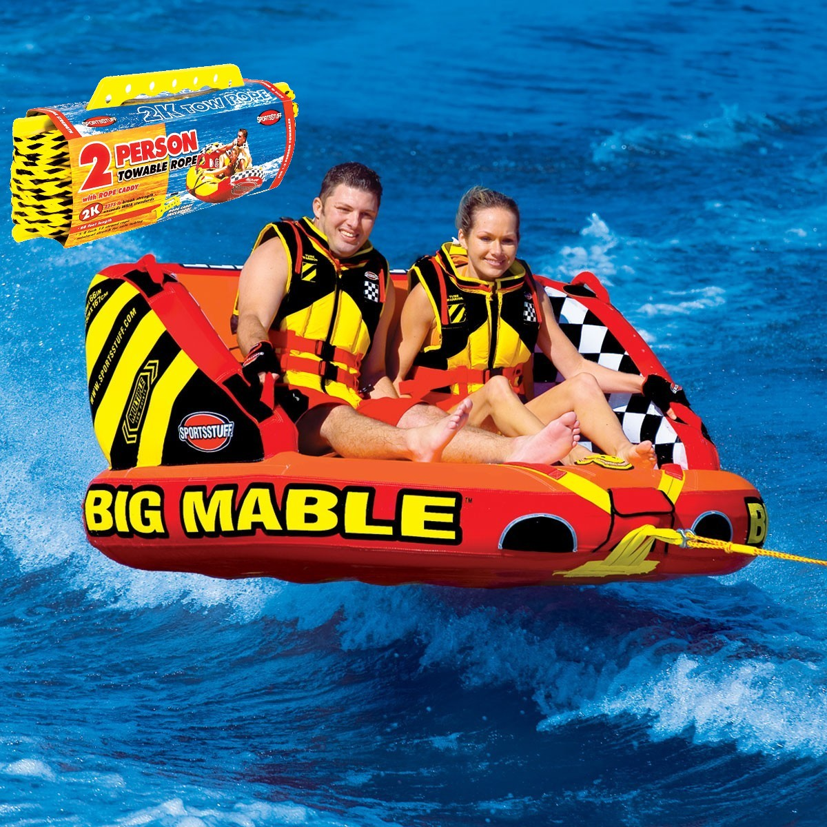 【セット】SPORTSSTUFF BIG MABLE 2人乗り ビッグマーブル トーイングチューブ/ウォータートーイ/バナナボート/スポーツスタッフ 53-2213 ロープ付き