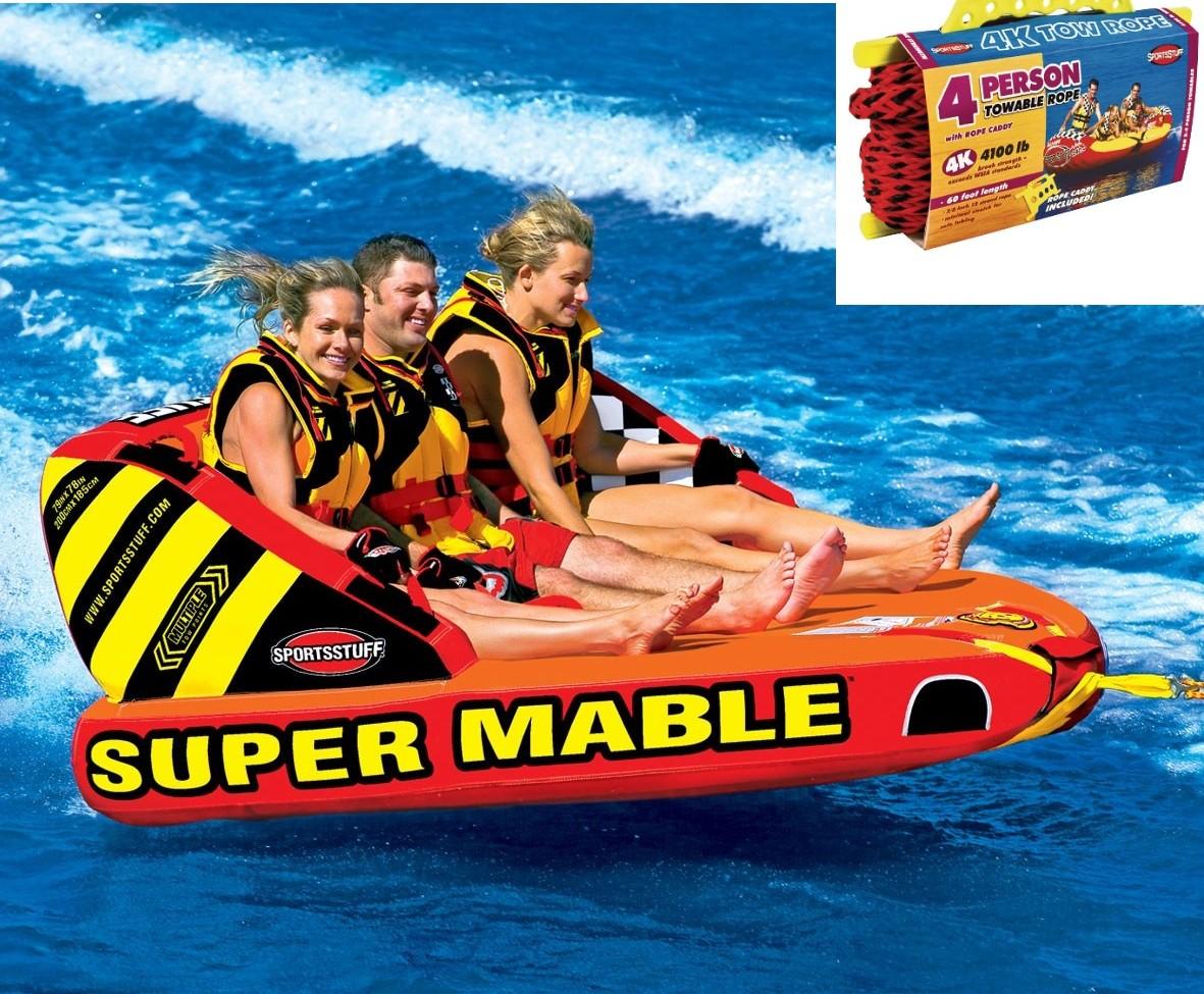 SPORTSSTUFF SUPER MABLE 3人乗り スーパーマーブル トーイングチューブ/ウォータートーイ/バナナボート/スポーツスタッフ 53-2223 ロープ付き