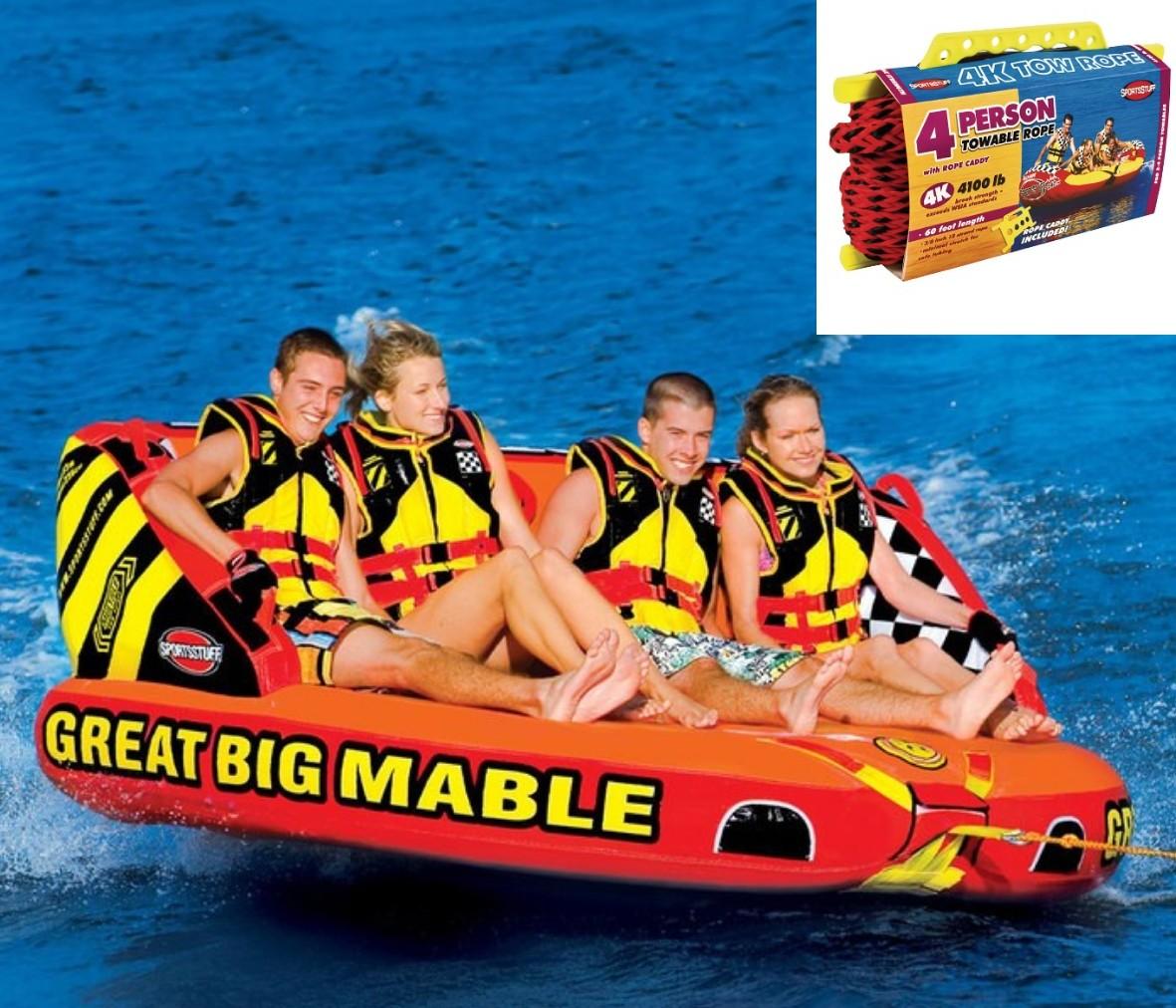 SPORTSSTUFF GREAT BIG MABLE 4人乗り グレート ビッグ マーブル トーイングチューブ/ウォータートーイ/バナナボート/スポーツスタッフ 53-2218 ロープ付き