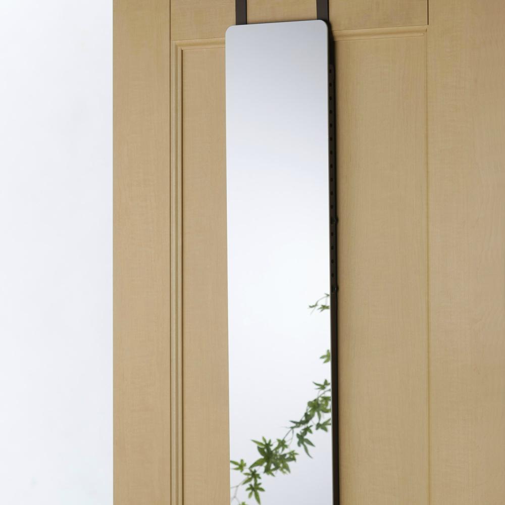 【送料無料】高さ調節式割れないドア掛けミラー 壁掛けミラー 鏡壁掛け 全身 姿見 鏡
