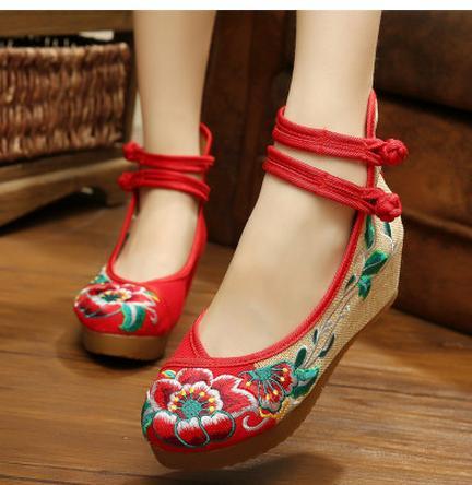 d5d62bc61109a レディースシューズ チャイナ靴 手作り北京布靴 ローヒールエスニックチャイナシューズ痛くない カジュアル シューズ