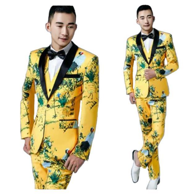 大人気新品!メンズファッション 紳士スーツセット メンズスーツ 3点セット スリムスーツビジネススーツ セットアップ フォーマルスーツ リクルートスーツ結婚式 長袖 忘年会司会者 パーティー 卒業式スーツ エリート細身 個性プリント花柄黄色