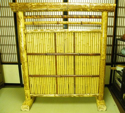 ついたて 衝立 104cm×92cm×26cm 竹製 間仕切り和風 インテリア 夏 日陰 涼しい