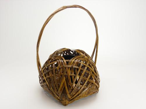 花器 トラ竹宗全かご 21cm×16cm 国産 日本製 篭 虎竹を編んだカゴ 風情を生かした花瓶 おしゃれな花入 和風な花入れ