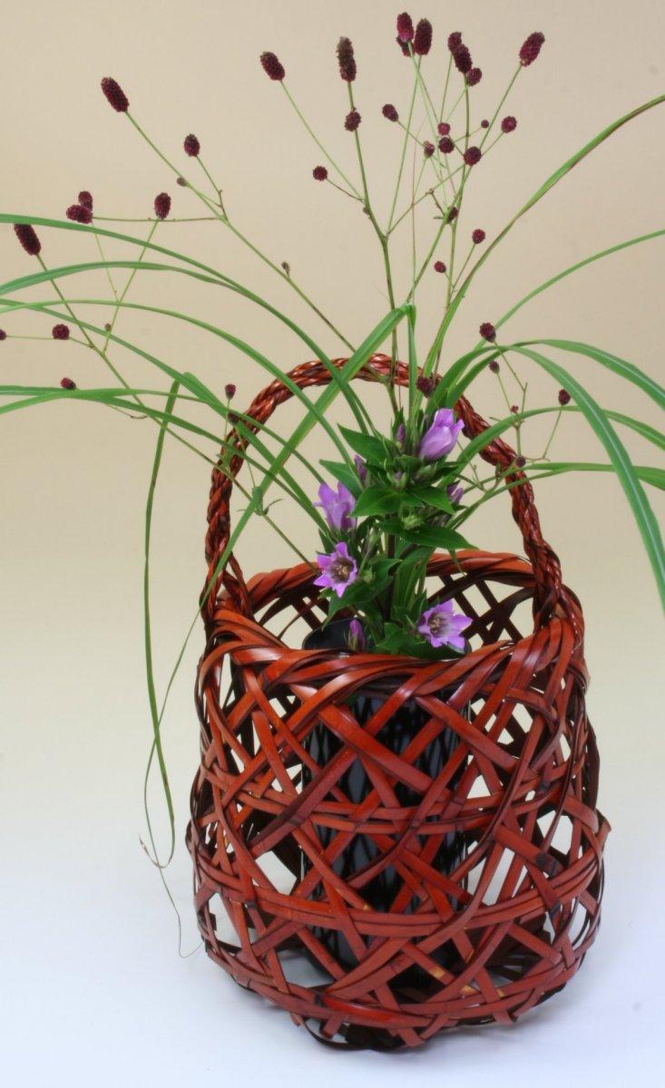 由布竹花篭 かやごもり 国産 日本製 竹製 花を彩る インテリア 部屋が華やぐ 竹かご 篭 花瓶 置き物 花立て 小物雑貨
