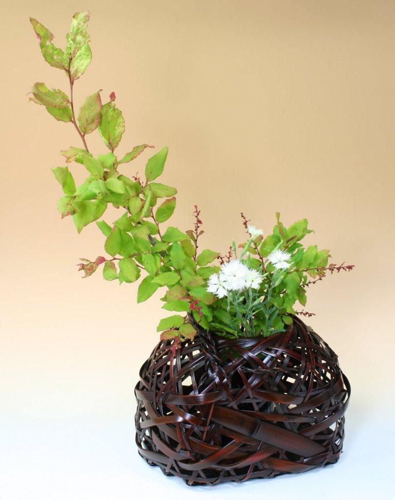 由布竹花篭 やまゆり 国産 日本製 竹製 花を彩る インテリア 部屋が華やぐ 竹かご 篭 花瓶 置き物 花立て 小物雑貨