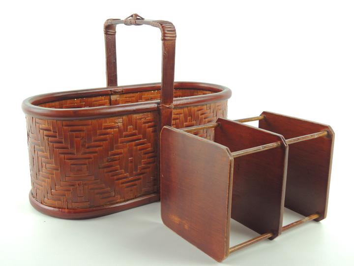 整理ラック かご 竹製 篭 プレゼント 小物入れ リモコン入れ 仕切り付き