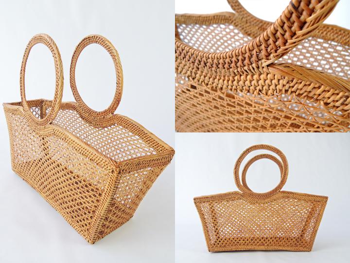 アタバッグ かごバッグ アタ製 すかし編み 小 アジアン雑貨 かご 篭 籠 シースルーバッグ おしゃれ