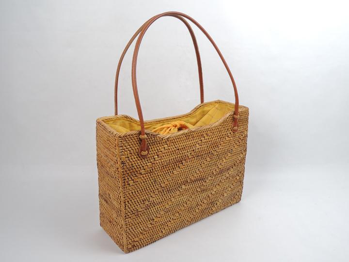 アタバッグ 2015年 新作 黄色 チェック柄 かごバッグ アタ製 アジアン雑貨 かご 篭 籠 お買い物バッグ お出かけバッグ 浴衣にも似合う
