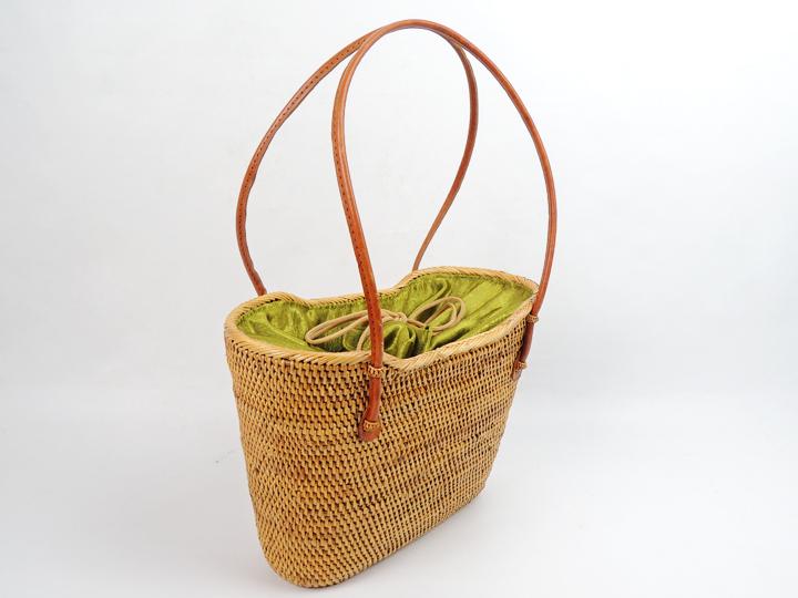 アタバッグ 2015年 新作 緑色 無地 かごバッグ アタ製 アジアン雑貨 かご 篭 籠 お買い物バッグ お出かけバッグ 浴衣にも似合う