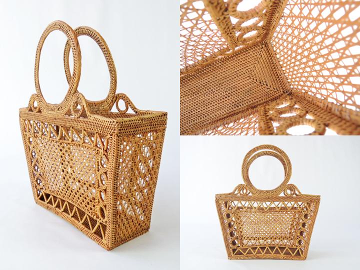 アタバッグ かごバッグ アタ製 すかし編み 大 アジアン雑貨 かご 篭 籠 シースルーバッグ おしゃれ