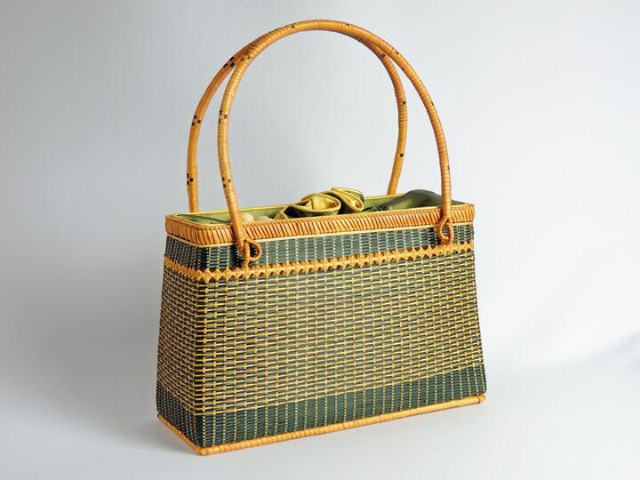ござ目バッグ 緑 角 竹製 竹かご 竹バッグ かごバッグ かご 篭 籠 和風バック 自然素材