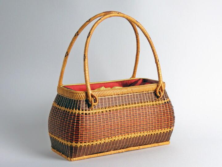 ござ目バッグ 赤 丸 竹製 竹かご 竹バッグ かごバッグ かご 篭 籠