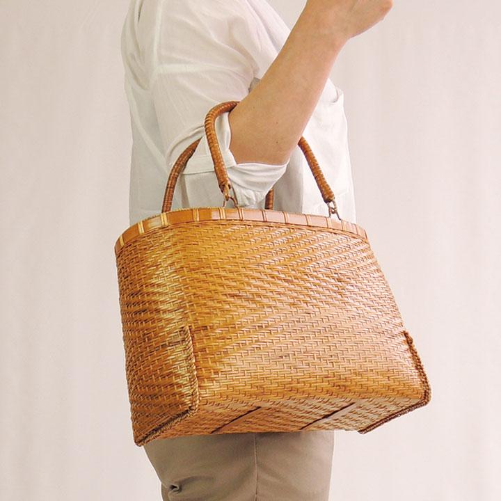 竹製 かわりあじろ 大 30×20cm 竹かご 竹バッグ かごバッグ カゴバッグ かご 篭 籠シンプル ナチュラル 買い物 おでかけ