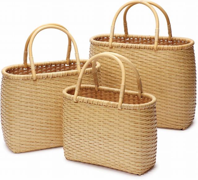 在庫要確認 ござ目バッグ M W25cm×D10cm×H20cm+11cm 国産 日本製 かごバッグ 真竹 渕巻 籐 竹製 天然素材 職人手作りシンプル ナチュラル 買い物 おでかけ 鞄 カバン