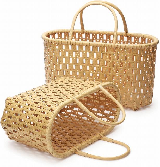 在庫要確認 差し六ツ目バッグ L W43cm×D18cm×H25cm+14cm 国産 日本製 かごバッグ 真竹 渕巻 籐 竹製 天然素材 職人手作りシンプル ナチュラル 買い物 おでかけ 鞄 カバン
