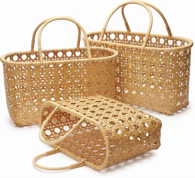 在庫要確認 八目バッグ S W35cm×D14cm×H22cm+11cm 国産 日本製 かごバッグ 真竹 渕巻 籐 竹製 天然素材 職人手作りシンプル ナチュラル 買い物 おでかけ 鞄 カバン