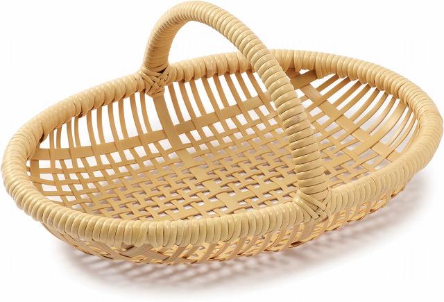 在庫要確認 手付小判篭 W27cm×D19cm×H4.5cm+7cm 国産 日本製 カゴ 篭 籠 かご 四つ目 真竹 渕巻 籐 竹製 天然素材 職人手作りシンプル ナチュラル 買い物 おでかけ 鞄 カバン