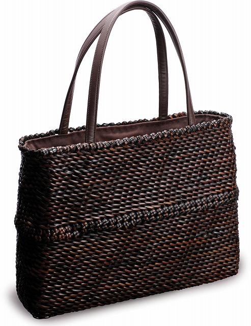 在庫要確認 石畳編み ショルダーバッグ W39cm×D8cm×H28cm+20cm 国産 日本製 かごバッグ 籐 カゴ 皮籐 牛皮 綿 天然素材 職人手作りシンプル ナチュラル 買い物 おでかけ 鞄 カバン