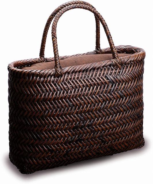 在庫要確認 網代編みバッグ 横長 W35cm×D10cm×H25cm+13cm 国産 日本製 かごバッグ 籐 カゴ 皮籐 皮籐 綿 綿 天然素材 職人手作りシンプル ナチュラル 買い物 おでかけ 鞄 カバン