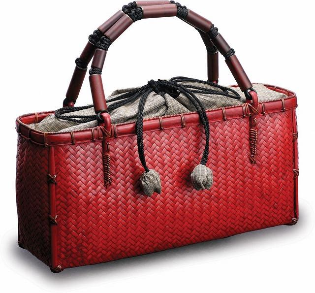 在庫要確認 網代編み ファッションバッグ W31cm×D8cm×H15cm+11cm 赤 国産 日本製 かごバッグ 真竹 ほうび竹 組み紐 絹 天然素材 職人手作りシンプル ナチュラル 買い物 おでかけ 鞄 カバン