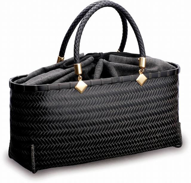 在庫要確認 網代バッグ 横長 W34cm×D10cm×H16cm+13cm 黒 茶 カゴ 国産 日本製 かごバッグ 真竹 合皮 綿 竹製 天然素材 職人手作りシンプル ナチュラル 買い物 おでかけ 鞄 カバン
