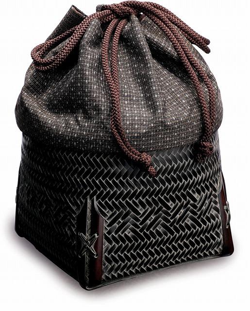 在庫要確認 御幸籠 R13 W11cm×D11cm×H10cm 黒 茶 国産 日本製 かごバッグ カゴ 真竹 絹 竹製 天然素材 職人手作りシンプル ナチュラル 買い物 おでかけ 鞄 カバン