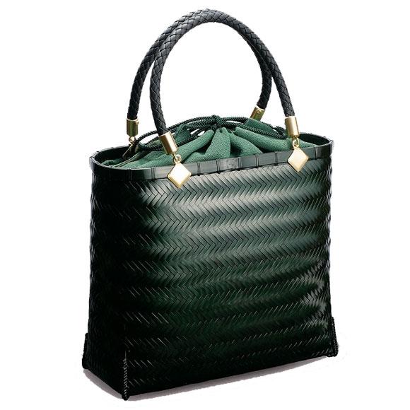 在庫要確認 網代バッグ L W25.5cm×D9cm×H22cm+12cm 黒 茶 緑 国産 日本製 かごバッグ カゴ 真竹 合皮 綿 天然素材 職人手作りシンプル ナチュラル 買い物 おでかけ 鞄 カバン