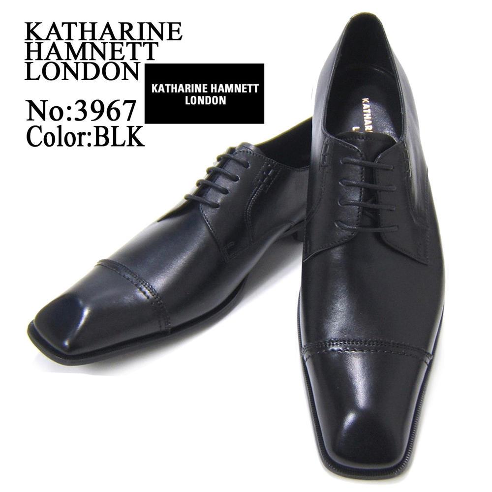 スラリと伸びるロングノーズで魅せる紳士靴!KATHARINE HAMNETT LONDON キャサリン ハムネット ロンドン 紳士靴 3967 ブラック ストレートチップ フォーマル 送料無料