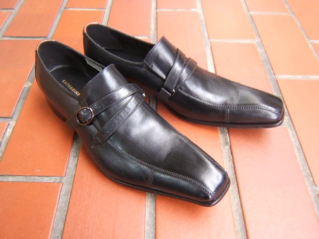 シンプルながら落ち着きのあるブリティッシュスタイル!KATHARINE HAMNETT LONDON キャサリン ハムネット ロンドン紳士靴 31501 ブラック スワールモカ モンクストラップ ビジネス 送料無料