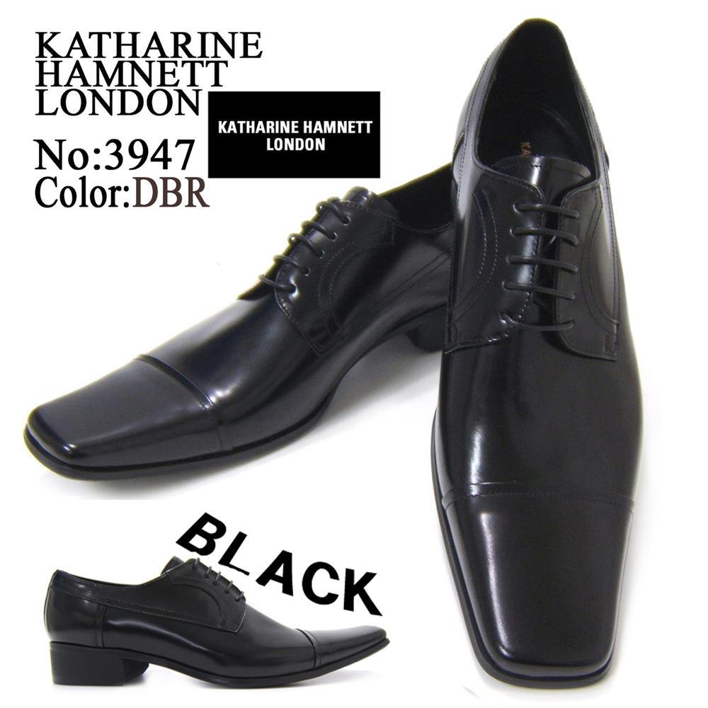 スラリと伸びるロングノーズが美しい上品な紳士靴!KATHARINE HAMNETT LONDON キャサリン ハムネット ロンドン紳士靴 3947 ブラック スクウェアトゥ フォーマル 送料無料