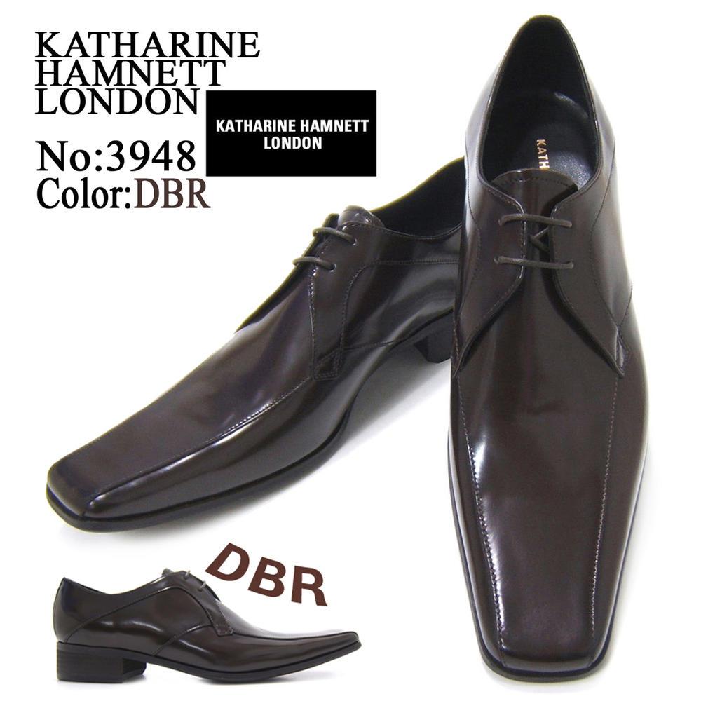 スラリと伸びるロングノーズが美しい上品な紳士靴!KATHARINE HAMNETT LONDON キャサリン ハムネット ロンドン紳士靴 3948 ダークブラウン スワールモカ フォーマル 送料無料