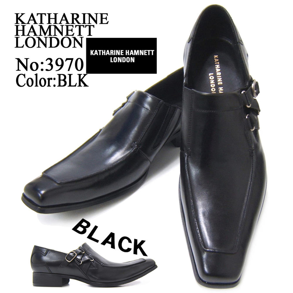 スラリと伸びるロングノーズで魅せる紳士靴!KATHARINE HAMNETT LONDON キャサリン ハムネット ロンドン 紳士靴 3970 ブラック スリップオン サイドストラップ フォーマル 送料無料