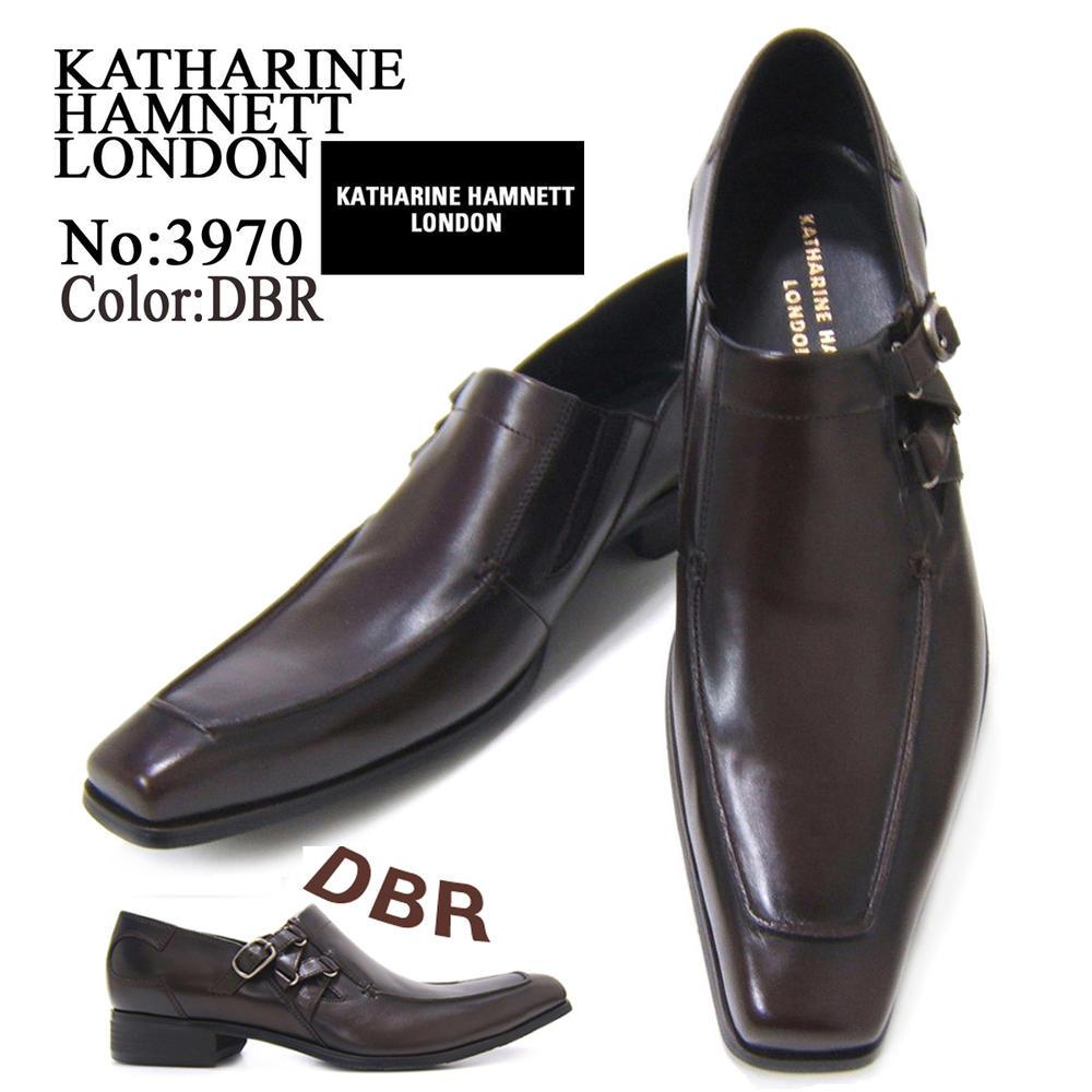 スラリと伸びるロングノーズで魅せる紳士靴!KATHARINE HAMNETT LONDON キャサリン ハムネット ロンドン 紳士靴 3970 ダークブラウン スリップオン サイドストラップ フォーマル 送料無料