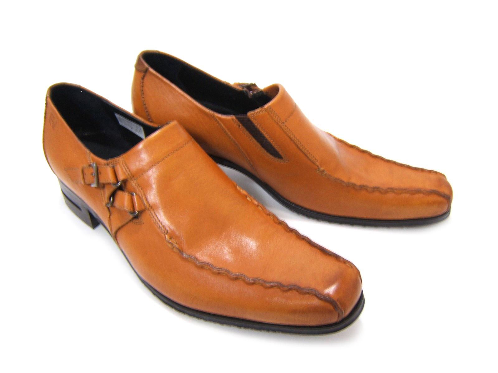 シンプルながら落ち着きのあるブリティッシュスタイル!KATHARINE HAMNETT LONDON キャサリン ハムネット ロンドン紳士靴 31554 ブラウン スワールモカ 変形モンクストラップ カジュアル パーティ 送料無料