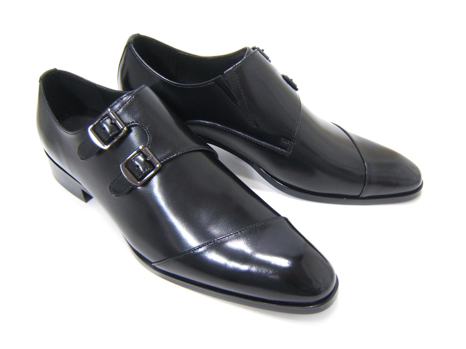 パーティーや結婚式♪艶やかで華がある足元を演出!フランコ ルッチ トラディショナル/FRANCO LUZ TRADITIONAL TH-57 ブラック 紳士靴 変形ストレートチップ モンクストラップ 送料無料