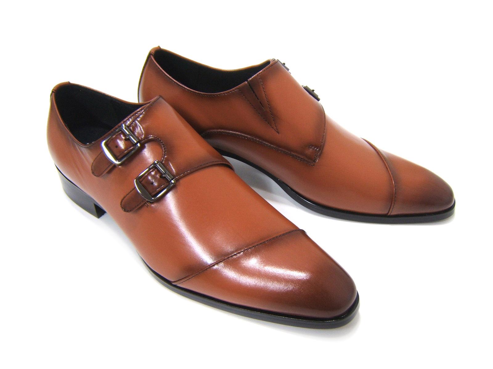 パーティーや結婚式♪艶やかで華がある足元を演出!フランコ ルッチ トラディショナル/FRANCO LUZ TRADITIONAL TH-57 キャメル 紳士靴 変形ストレートチップ モンクストラップ 送料無料