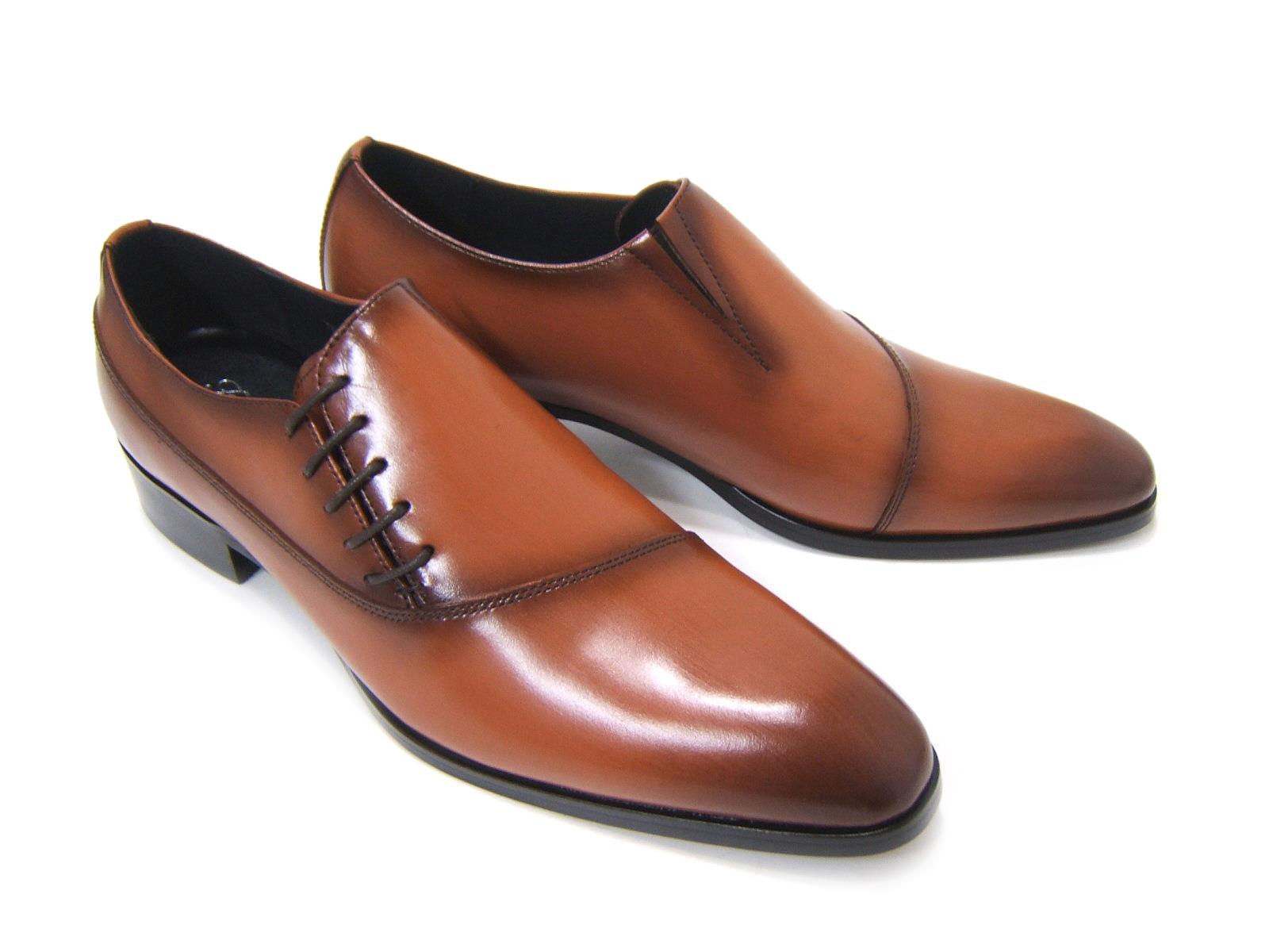 パーティーや結婚式♪艶やかで華がある足元を演出!フランコ ルッチ トラディショナル/FRANCO LUZ TRADITIONAL TH-57 キャメル 紳士靴 サイドレースアップ アーモンドトゥ 送料無料