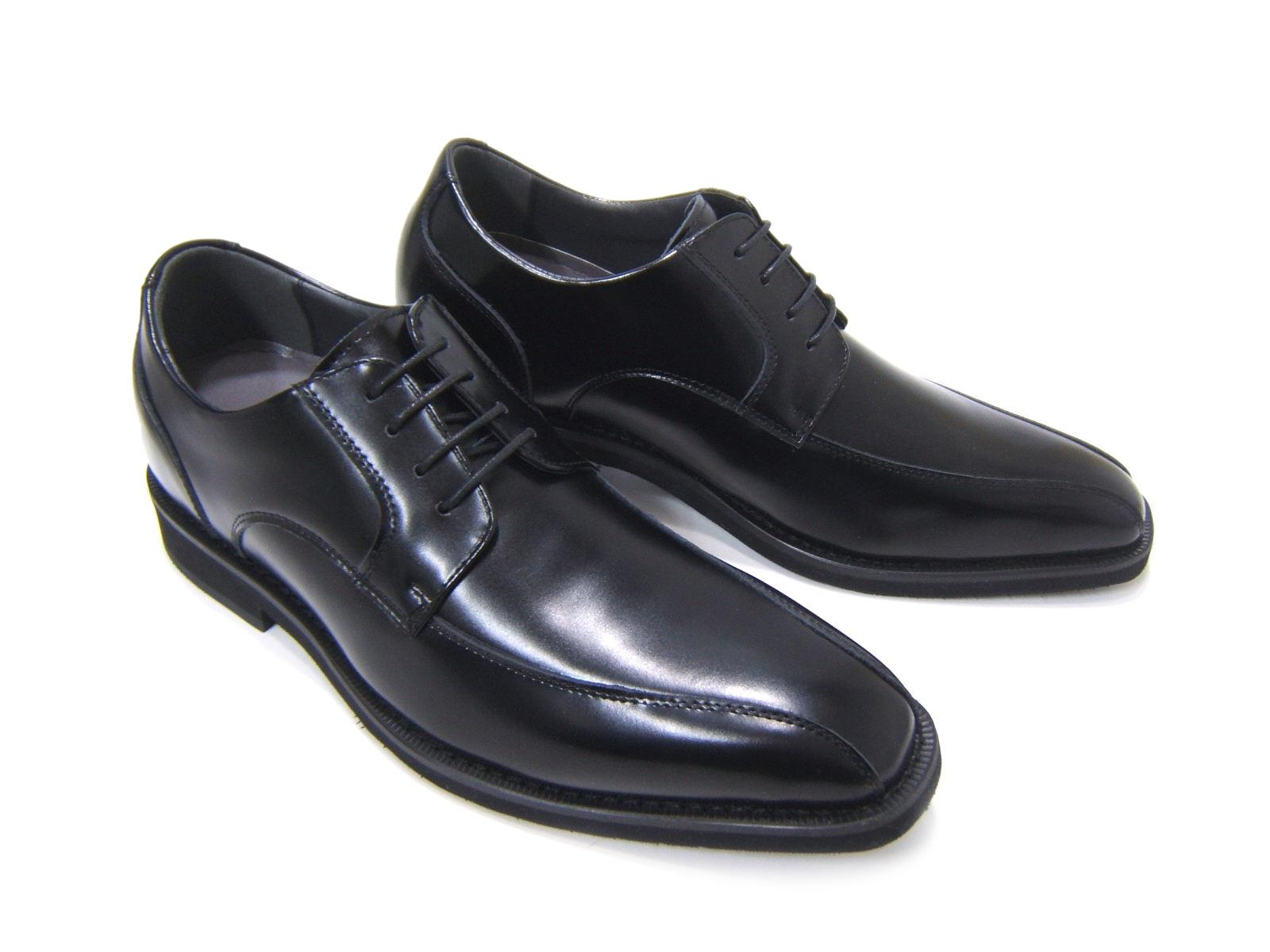 3cm+3cmのさり気ないシークレットシューズ♪Antiba Segreto/アンティバ セグレイト 紳士靴 シークレットブーツ 背が高くなる靴 ロングノーズ ビジネス 送料無料 ブラック