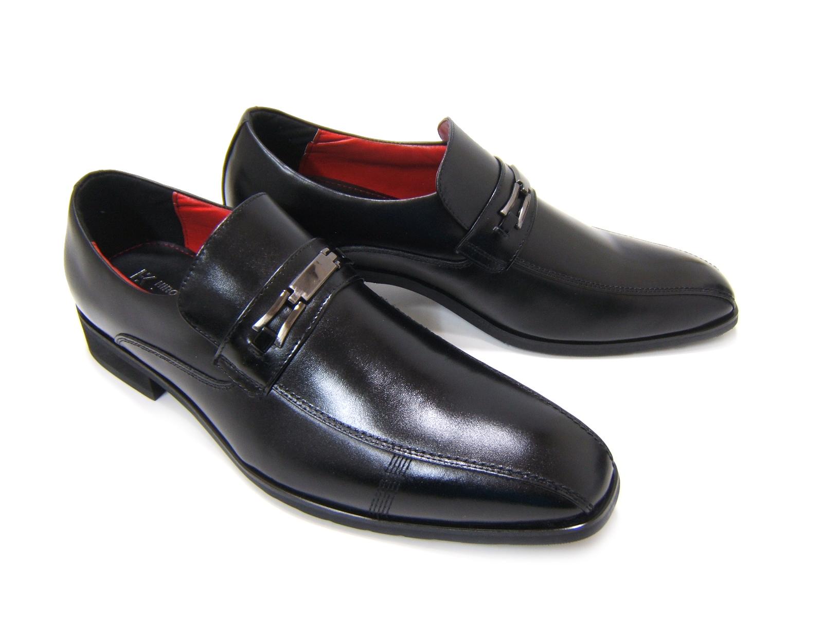 牛革仕様で光沢あるアッパー!信頼の日本製!HIROKO KOSHINO/ヒロコ コシノ ビジネス紳士靴 ブラック 金具付き スリップオンHK5557 3Eワイズ ビジネス 送料無料